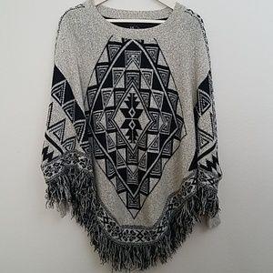 Forever 21 tribal boho sweater poncho cape fringe
